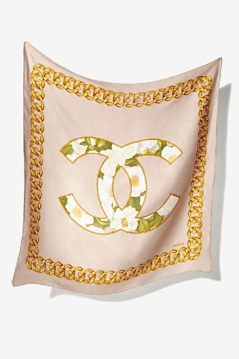 Vintage Chanel Rue Cambon logo silk scarf available at NASTY GAL