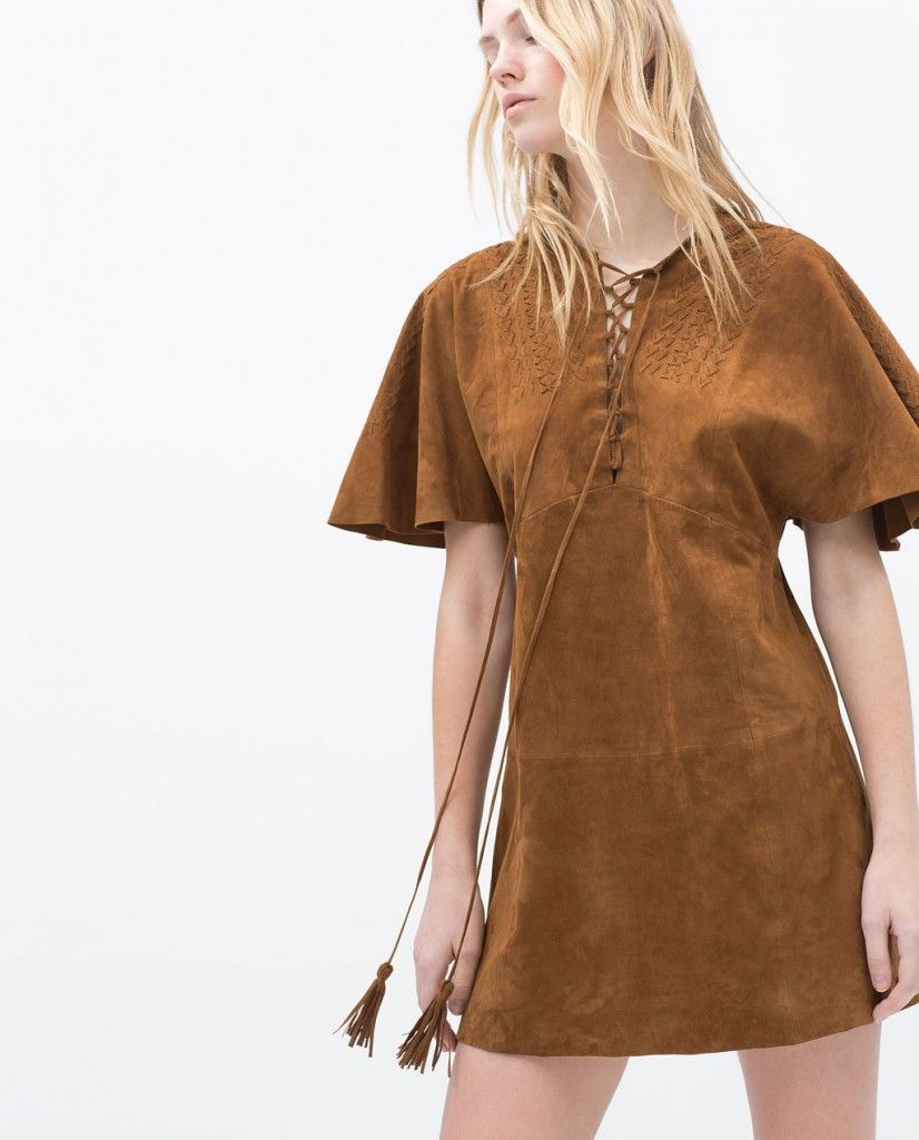 Tobacco suede dress available at ZARA.com