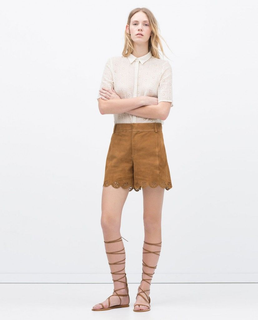 Cutwork suede shorts available at ZARA.com