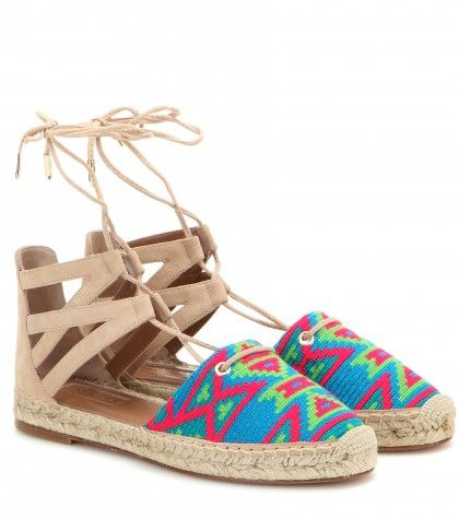 Aquazzura Belgravia embroidered suede espadrilles sandals available at MYTHERESA.com