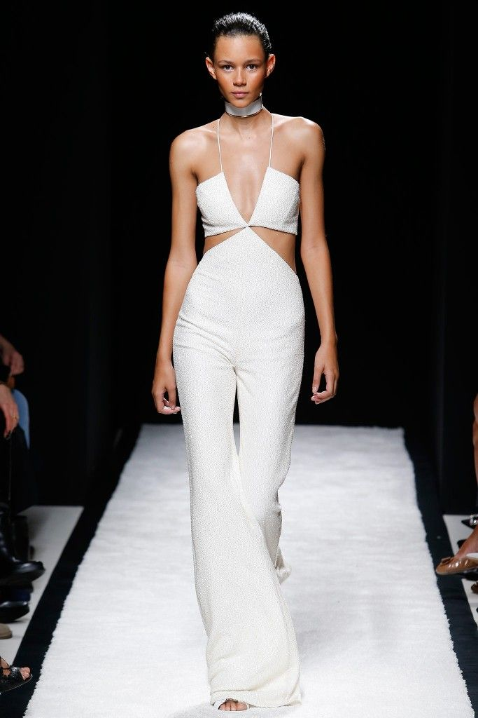 Balmain cutout jumpsuit in white stretch-jersey