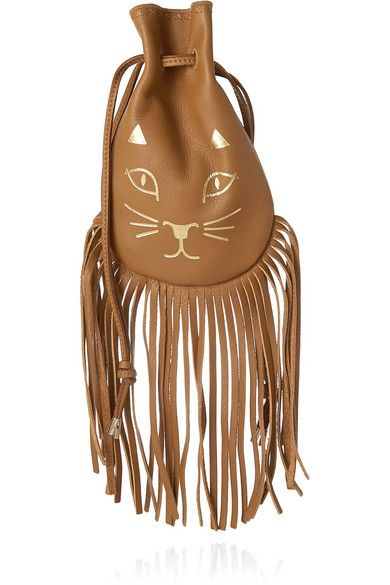 Charlotte Olympia Kitty fringed leather pouch available at NET-A-PORTER