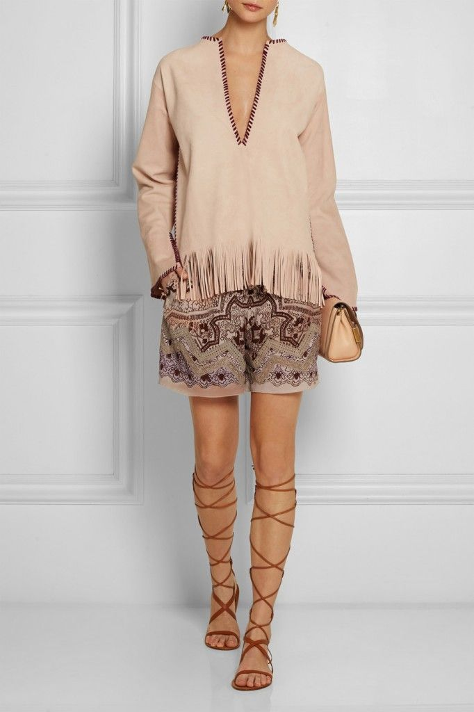Etro lace-trimmed printed silk-crepe shorts available at NET-A-PORTER