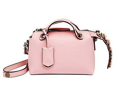 Fendi By The Way Mini Crystal Accented smooth bubble-gum pink leather satchel bag available at SAKS