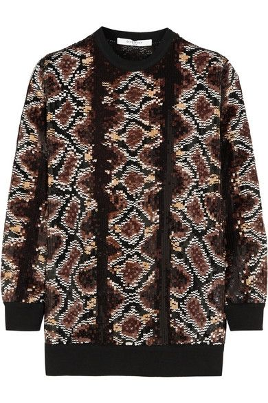 Givenchy sweater in python sequined silk-chiffon available at NET-A-PORTER