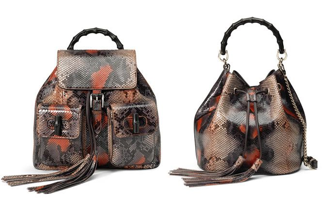 Gucci Bamboo python backpack available at NEIMAN MARCUS