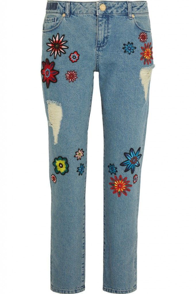 House of Holland Nancy appliquéd high rise boyfriend jeans available at NET-A-PORTER