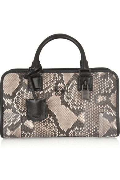 Loewe Amazona small leather-trimmed python tote available at NET-A-PORTER