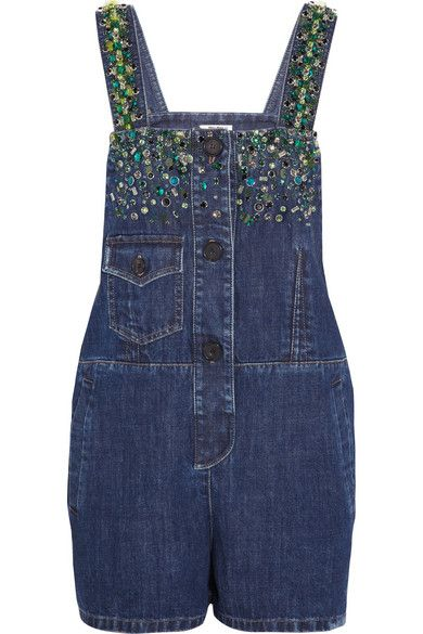 Miu Miu crystal and sequin embellished denim playsuit available at NET-A-PORTER