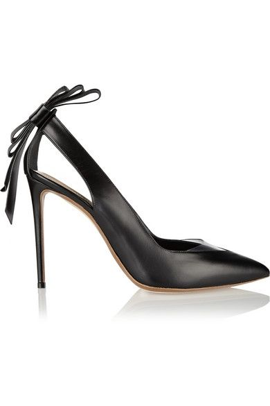 Nicholas Kirwood bow embellished leather and PVC pumps available at NET-A-PORTER