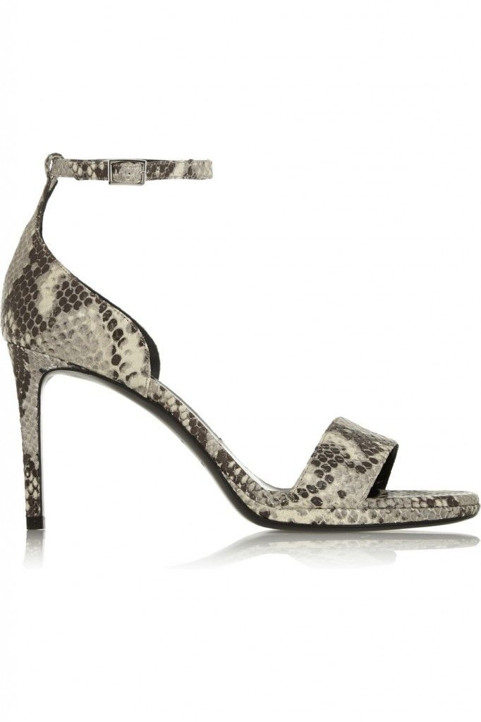 Saint Laurent Jane snake-effect leather sandals available at NET-A-PORTER