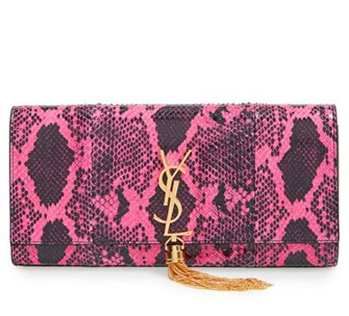 Saint Laurent Monogramme genuine python clutch available at NORDSTROM.com
