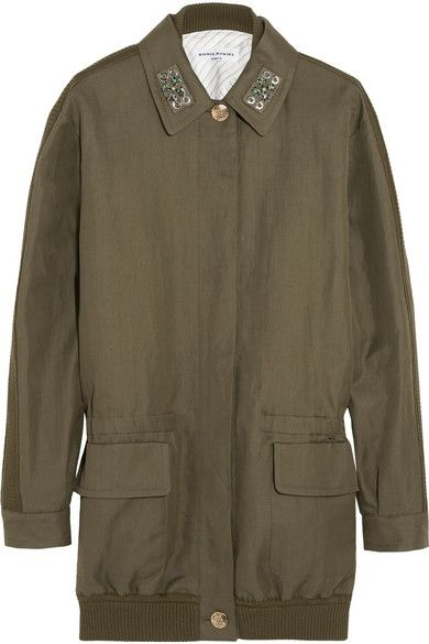 sonya-rykiel-linen-cotton-blend-twill-embellished-parka