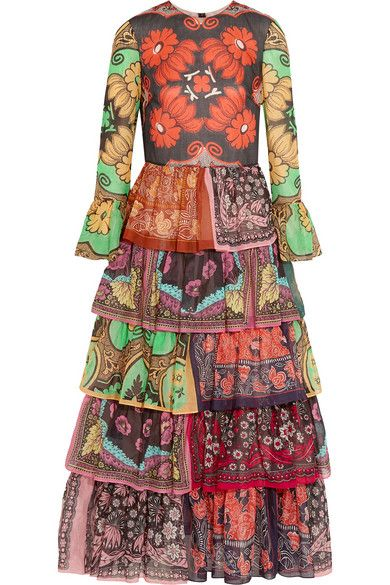 Valentino printed cotton voile gown available at NET-A-PORTER