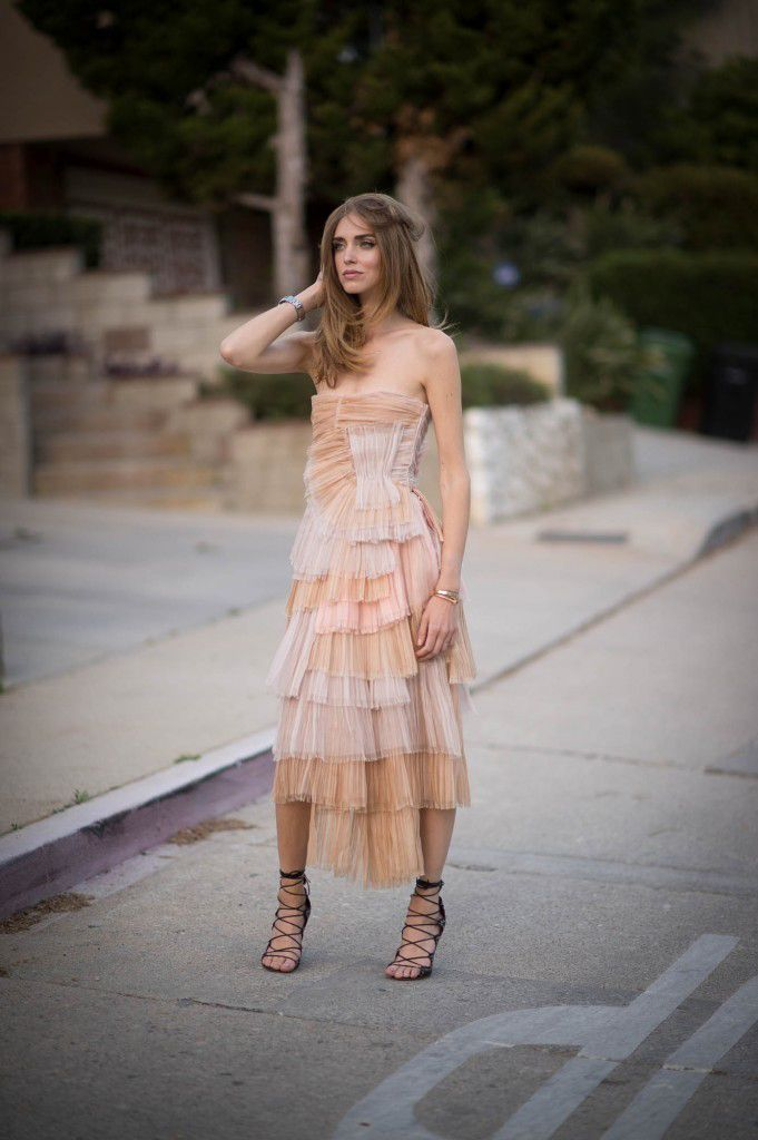 Chiara Ferragni in a Burberry Prorsum tiered sil dress that you can get from MYTHERESA.com