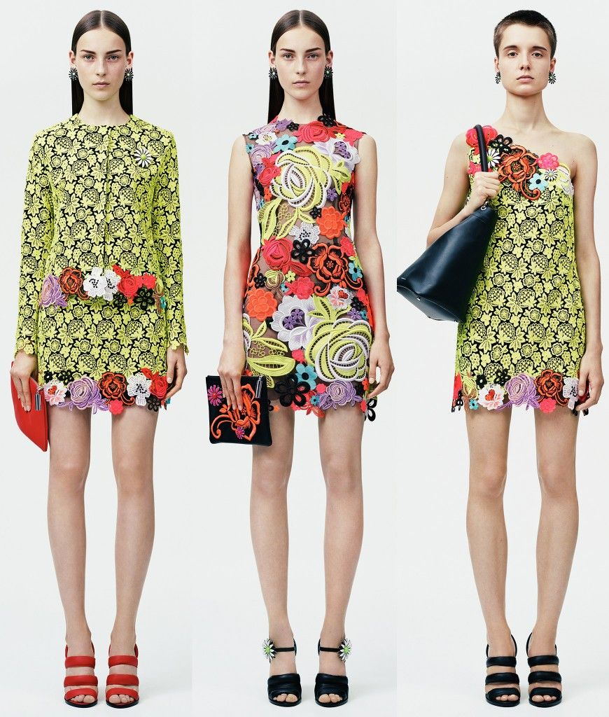 christopher-kane-resort-2015-neon-guipure-lace-flowers-looks