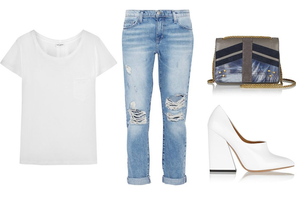 1) Saint Laurent white cotton-jersey T-Shirt available at NET-A-PORTER