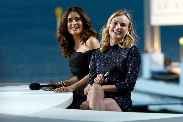 "Diane Kruger appearance on ""Le Grand Journal""alongside Salma Hayek."