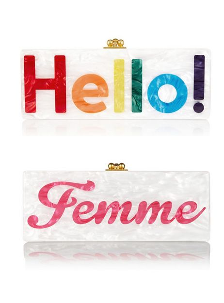 "Edie Parker's Flavia ""Hello"" acrylic box clucth available at NET-A-PORTER"