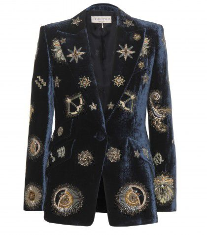 Emilio Pucci Zodiac embellished velvet blazer available at MYTHERESA.com