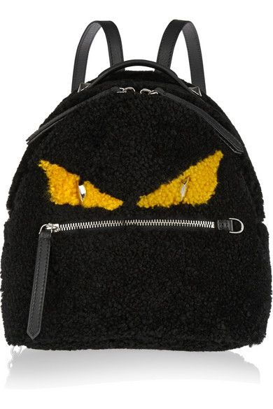 Fendi Monster mini leather-trimmed black shearlin backpack available at NET-A-PORTER