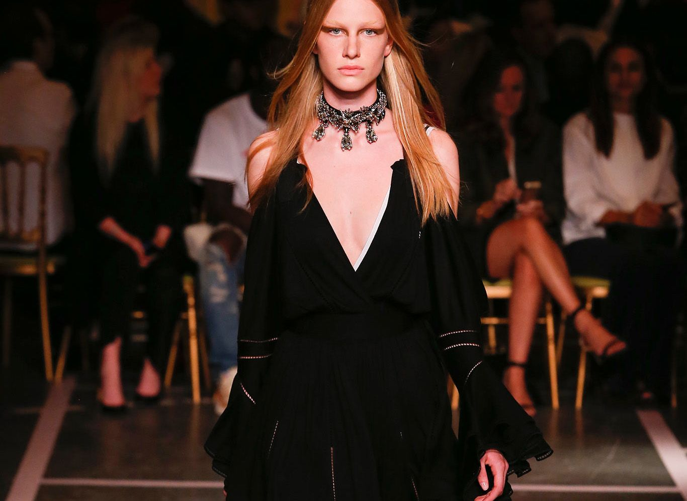 get joan smalls u0026 39  givenchy black jersey dress with cutout shoulders  amfarcannes