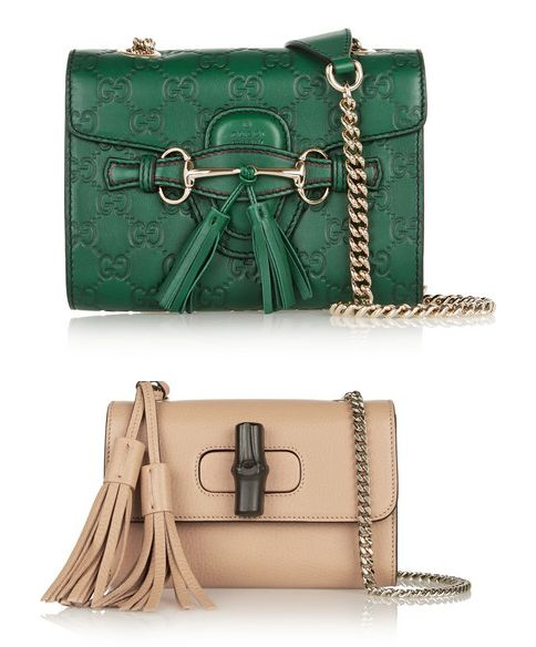 1) Gucci Emily mini embossed leather shoulder bag available at NET-A-PORTER
