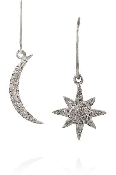 Ileana Makri Sun and Moss oxidiez silver and diamond earrings available at NET-A-PORTER
