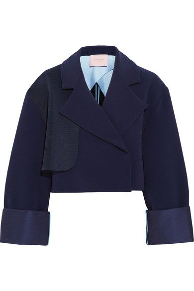 Roksanda mesh-trimmed stretch-crepe jacket available at NET-A-PORTER