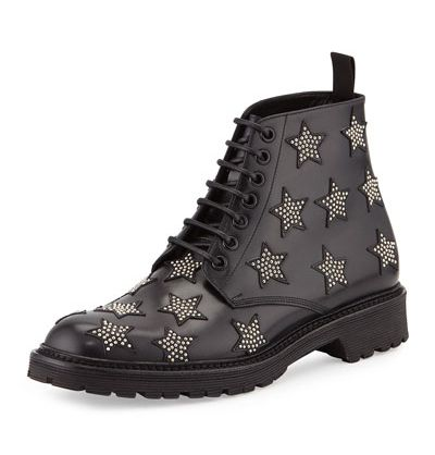 Saint Ñaurent army star-studded black leather boots available at NEIMAN-MARCUS