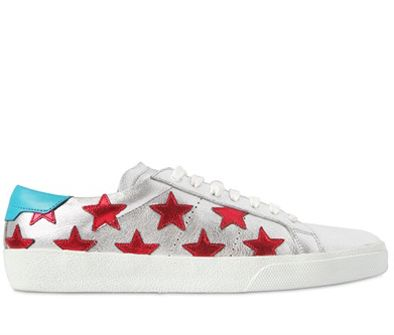 Saint Laurent Court red stars silver metallic leather sneakers available at LUISAVIAROMA.com