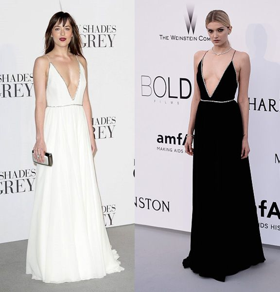 saint-laurent-gown-plunging-neckline-white-black-dakota-johnson-lily-donaldson