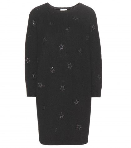 Saint Laurent star embellished wool-blend dress available at MYTHERESA.COM