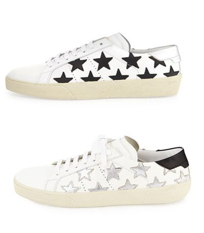 Saint Laurent black star-studded white leather sneakers