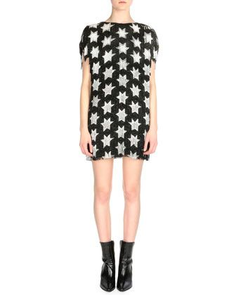Star pattern allover fringe dress by Saint Laurent FW15 available at NEIMAN MARCUS