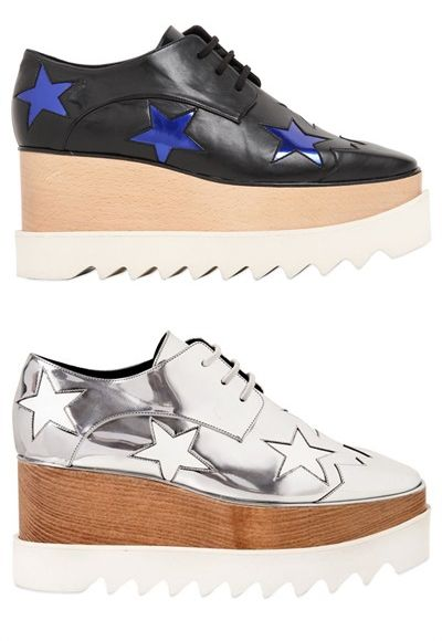 Stella McCartney black and blue stars faux leather wedges available at LUISA VIA ROMA