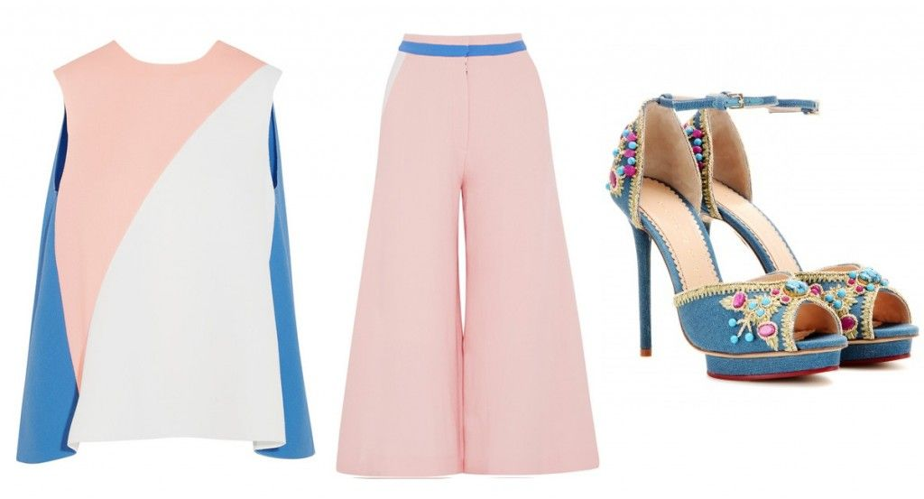 Roksanda color-block wool crepe top available at NET-A-PORTER and color-block wool-crepe culottes available at NET-A-PORTER
