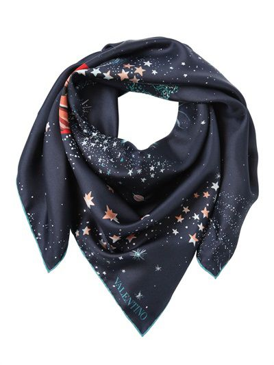 Valentino Cosmo Printed silk twill scarf available at LUISAVIAROMA.com