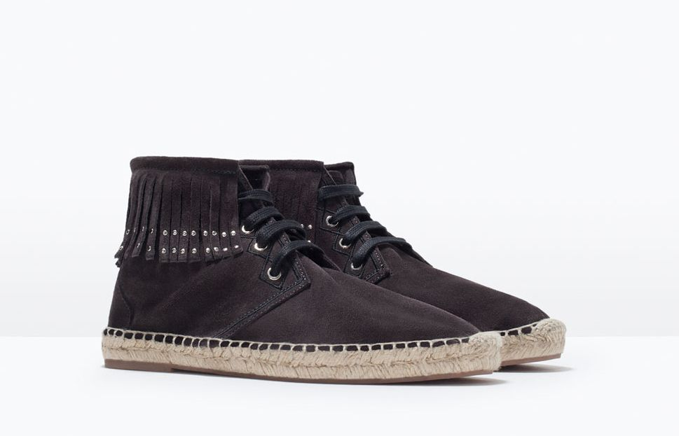 Zara's take on Saint Laurent suede ankle boot espadrilles with fringe