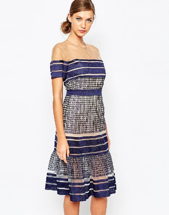 Self-Portrait Striped-Mesh-Midi-Dress-With-Peplum-Hem