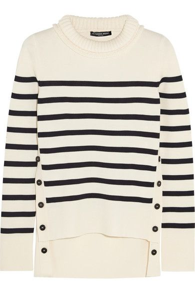 Alexander McQueen ivory and midnight-blue striped soft merino wool sweater available at NET-A-PORTER