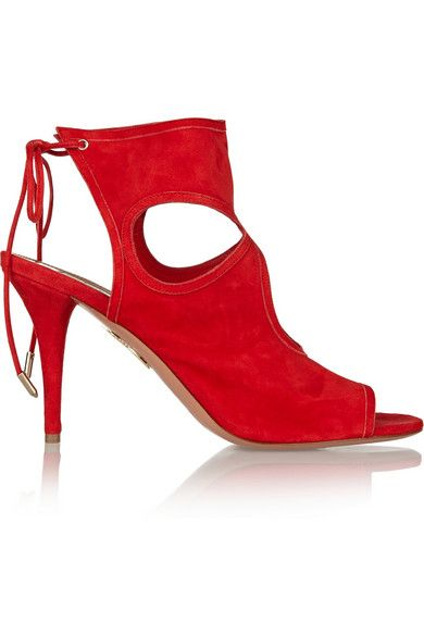 Aquazzura sexy thing cutout red suede sandals available at NET-A-PORTER