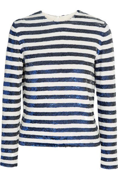 Ashish striped sequined silk georgette top available at NET-A-PORTER
