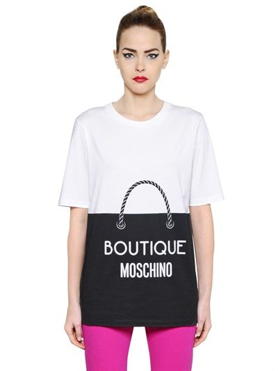Boutique Moschino shopping bag printed cotton T-Shirt available at LUISAVIAROMA.com