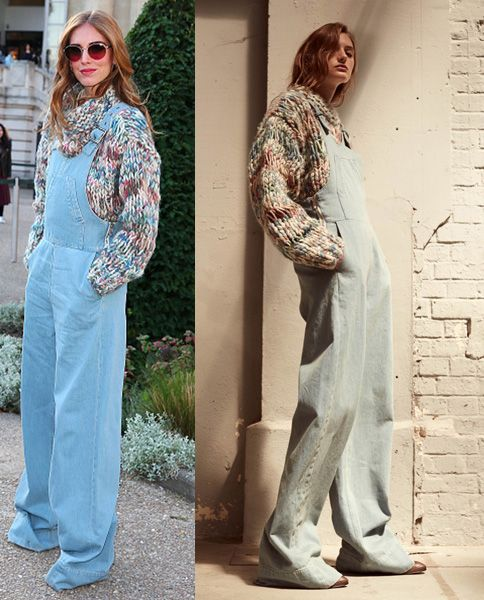 Chiara Ferragni wearing a Chloé Resort 2016 washed cotton denim overalls available at LUISAVIAROMA.com