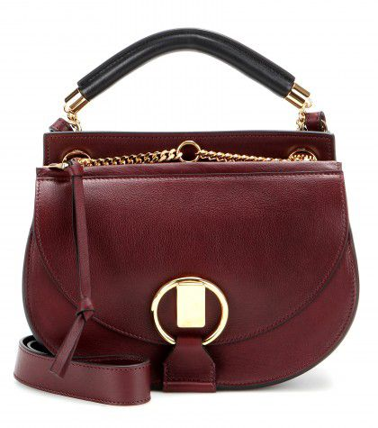 Chloé Goldie small deep maroon leather and suede shoulder bag available at MYTHERESA.com