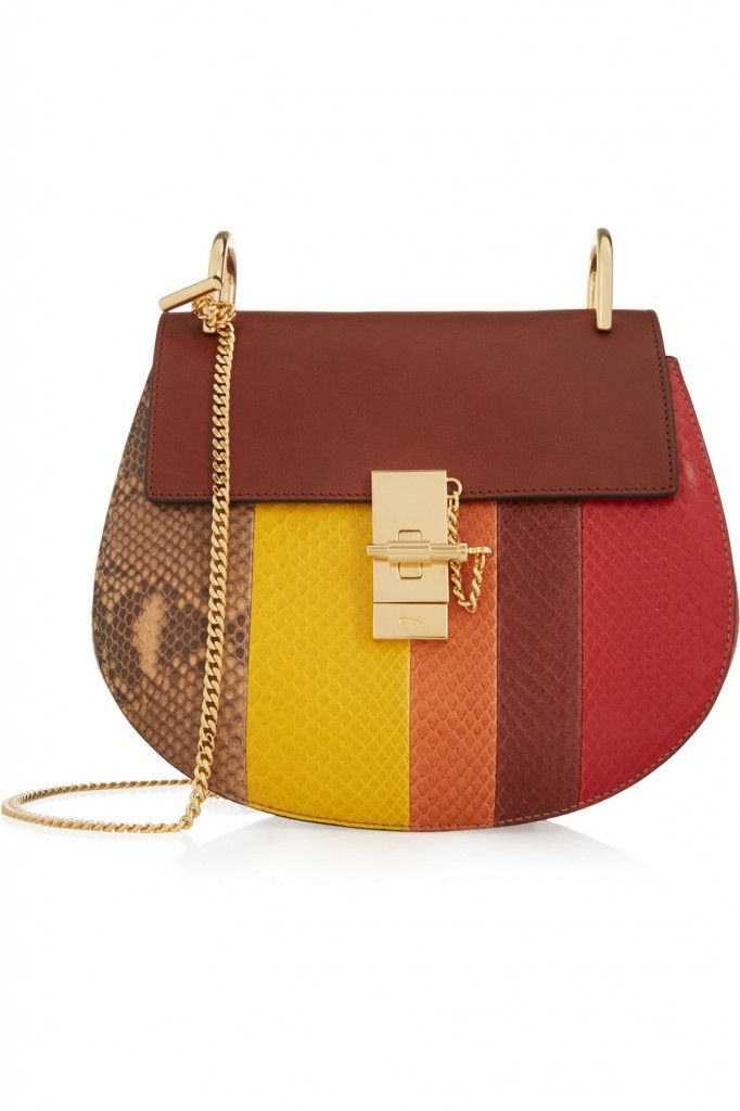 Chloé Drew small multiolored python and brown calf leather shoulder bag available at NET-A-PORTER