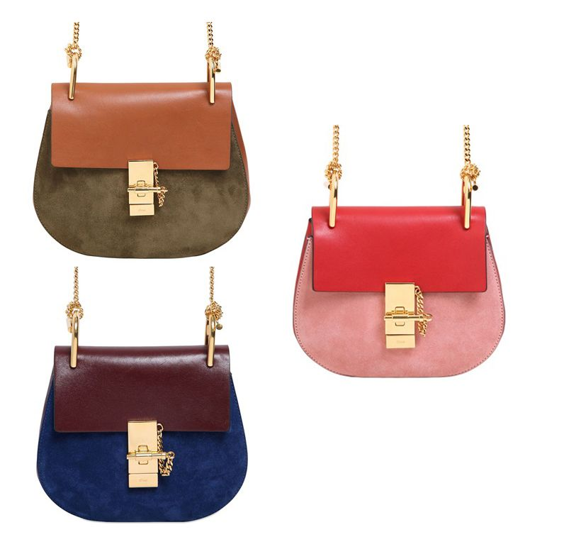 Chloé Drew green suede and brown leather shoulder bag available at LUISAVIAROMA.com