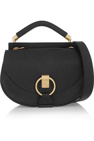 Chloé Goldie small black leather shoulder bag available at NET-A-PORTER