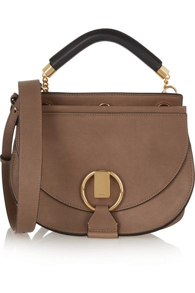 Chloé Goldie small tab leather and suede shoulde rbag available at NET-A-PORTER